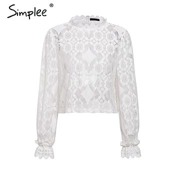 Simple Elegant white lace blouse shirt Sexy hollow out embroidery feminine blouse Women long lantern sleeve summer tops female
