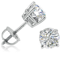 IGI Certified 1 1/2ct  14K White Gold Round Diamond Stud Earrings with Screw-Backs