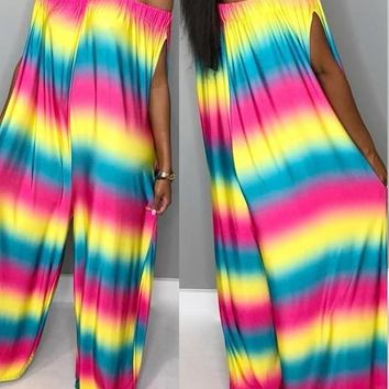 New Red Rainbow Striped Off Shoulder Pockets Shouly Casual Long Jumpsuit