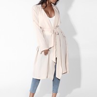 Cream Pink Lila Short Chiffon Trench