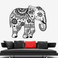 Wall Vinyl Elephant Flower Tribal Ornament Mural Vinyl Decal (z3365)