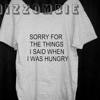 HUNGRY feed me sorry I'm hungry Off shoulder Oversized  tshirt   women  teen street style loose fitting graphic grunge hipster festival