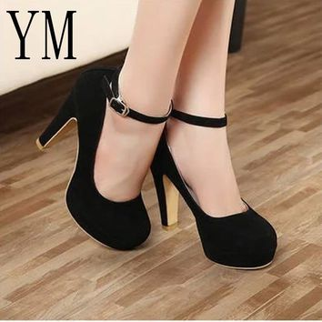 SHOES HEELS Sexy Ankle Strap Femeninas High heels Autumn Flock Round toe High heels Female Platform Summer Shoes Women Pumps Sandals