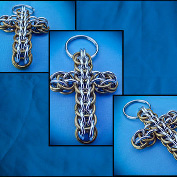 Chainmaille Cross Keychain