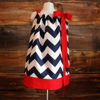 Navy Chevron Dress - Newborn to Child 7/8 - pillowcase dress USA 4th of July Independence Day baby toddler infant Fourth of July