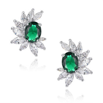 Green Oval and Clear Marquise Cubic Zirconia Stud Earrings