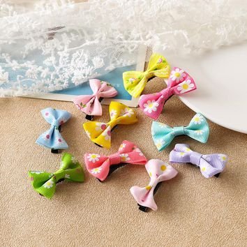 10pcs bowknot kids baby children hair clip bow pin barrette hairpin accessories for girls ribbon hair bow ornaments hairgrip