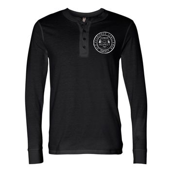 "Omerta ""Old Fashioned Gentleman"" Black Four Button Henley Shirt"