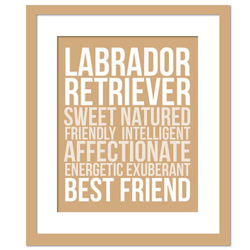 Labrador Retriever Character Traits - Subway Art Print - Typography Poster - 8 x 10 Wall Decor - Dog Lover Poster