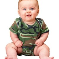 Infant Camouflage Creeper Bodysuit by Rabbit Skins - Green - 6 Mths