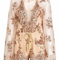 Pink Plunge Neck Drawstring Waist Sequin Sheer Romper Playsuit