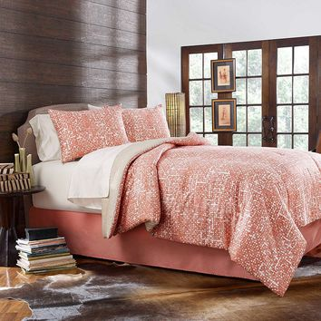 City Scene Grove Hill Block Print Lattice 3-pc. Reversible Duvet Cover Set (Orange)