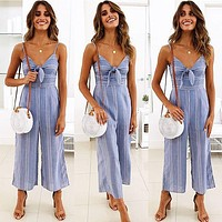Women'S Printed Bow Striped Jumpsuit