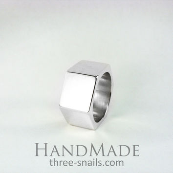 Mens silver ring. Hex nut ring