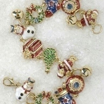 4 Christmas Charm Bracelets - Charms Include: Santa Claus, Snowmen, Wreaths, Bells, Stockings, Ornaments, Holiday Trees, And Wrapped Gifts