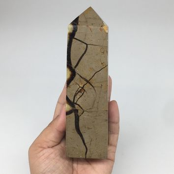 "518g,5.8""x1.7""x1.5"" Natural Septarian Tower Point Crystal @Madagascar,TP153"
