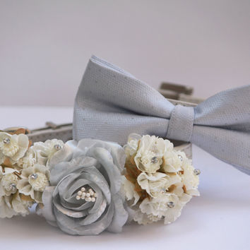 White and Silver Wedding Dog Collars - Silver Dog Collar, Silver Bow tie, Silver wedding accessory