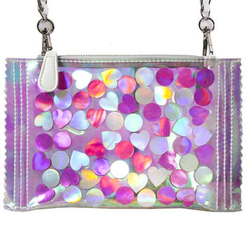 HOLO CANDY HEARTS CROSSBODY BAG