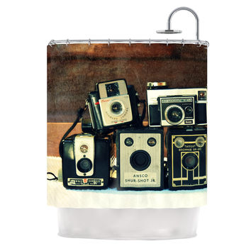 "Robin Dickinson ""Through the Years"" Vintage Camera Shower Curtain"