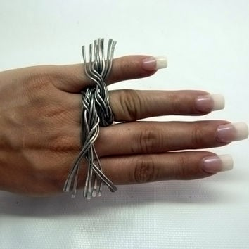 Handmade statement ring , wide art ring , wire wrapped jewelry , modern jewelry , aluminum rings