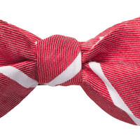 Red Linen Stripe Bow Tie by Southern Proper