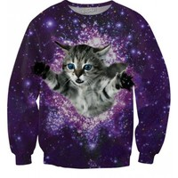 Kitty Glitter Sweatshirt | All Over Print Shirts | Space Cat EDM Shirt