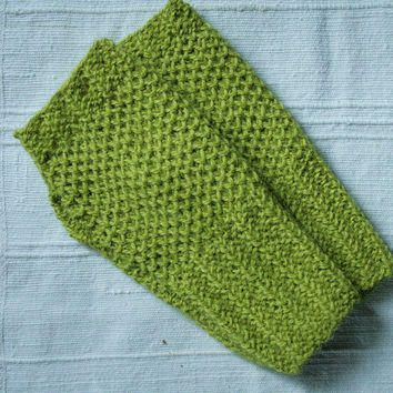 Hand knit fingerless gloves, lime green wrist warmers, alpaca wrist spats, knitted mitts, READY TO SHIP