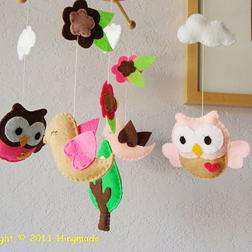 Nursery Baby Crib MobileHanging MobilePink Baby Owls by hingmade