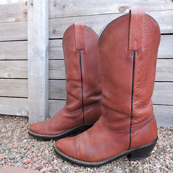 Vintage Frye boots / size 11 D / early 80s Frye cowboy boots / western boots / cognac brown classic Frye boots / made in USA