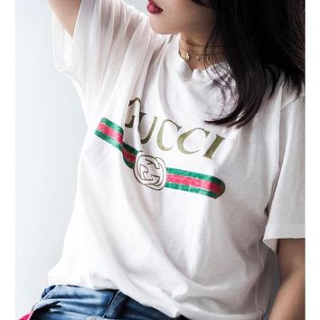 GUCCI 2018 latest men and women tide brand fashion T-shirt F