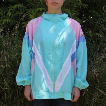 Vintage Women's Pastel Windbreaker // 80s 90s // Activewear Kawaii Jacket  Zip Up // Pink Cyan Blue & White // By Coral Bay C.C.