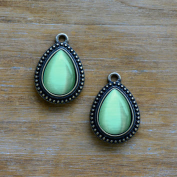 2 - Genuine LIGHT GREEN Cat Eye Teardrop Stone Charms 10x14mm Pear Drop Chatoyancy Gem Set in 15x19mm Brass Setting Charm Antique Bronze