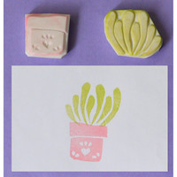 Handcarved Rubber Stamp - Plant in Pot no.5 Large, set of 2 (Handmade / Hand Carved / Handcarved Rubber Stamp)