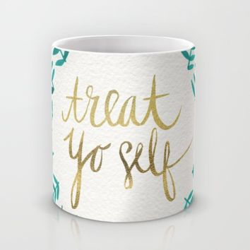 Treat Yo Self – Gold & Turquoise Mug by Cat Coquillette | Society6