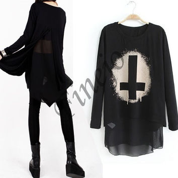 2014 New Punk Fashion Women's Crew Neck Printed Irregular T-shirt Shirt Tops Tee  SV006406 = 1902357060