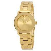 Movado Bold Gold Sunray Dial Ladies Watch 3600434