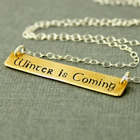 Game of Thrones - Winter is Coming - Song of Ice and Fire Necklace