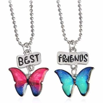 2pcs Best Friends Butterfly Flower Turtle Hippocampus Starfish Pendant Necklaces Friendship Jewelry Christmas Gift