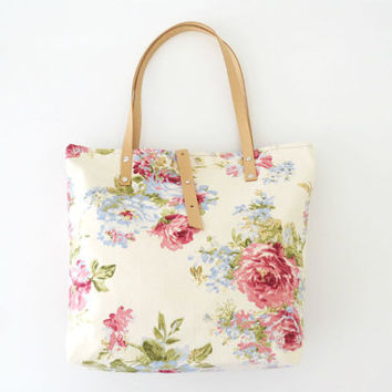 Canvas bag, Summer bag,  Floral tote bag with leather handles,  Limited edition,  Pink flowers, Many pockets