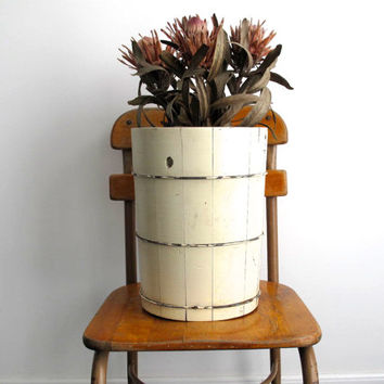 Vintage White Wood Basket - Rustic Storage Trash Can / Waste Paper Basket