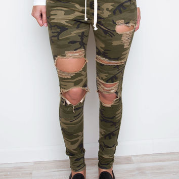 Running Out Distressed Camo Pants