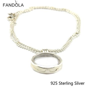 Compatible With European Style Jewelry Pendants 925 Sterling Silver Large Floating Locket Silver Pendant Original Charms CKK