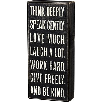Think Deeply Positive Quotes Wooden Box Sign