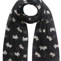 Scottie Westie Dog Highland Terrier Print Women's Scarf Shawl Wrap Gift Winter Spring Animal Pet Accessory, Free Shipping