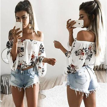 Fashion Casual Flower Print Off Shoulder Long Sleeve T-shirt Tops