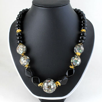 Black Agate Onyx Silver Gray Abalone Paua Large Gold Beaded Necklace.