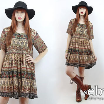 Vintage Hippie Dress Indian Dress Festival Dress India Dress Hippy Dress Boho Dress Vintage 90s India Festival Cotton Tent Mini Dress S M L