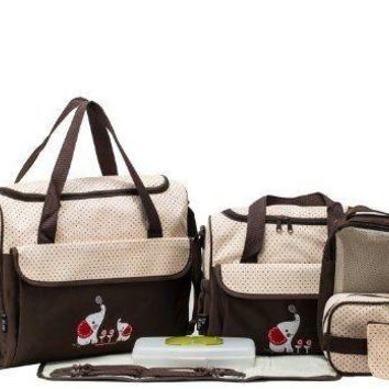 SOHO Collections, 10 Pieces Diaper Bag Set (Brown Color with Elephant)