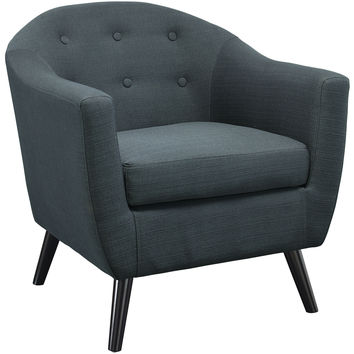 Modway Wit Armchair in Button Tufted Gray Fabric on Wood Legs