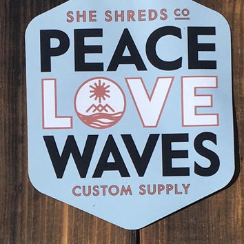 Peace Love & Waves Stickers